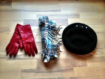 Gloves, beanie, scarf