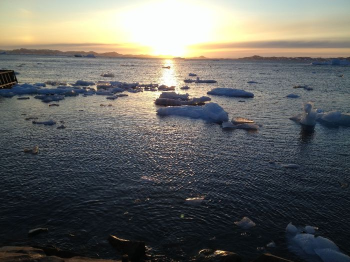 Icebergs float by
