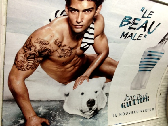 Jean Paul Gaultier fragrance, snapped in the Paris metro
