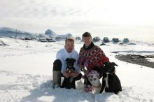 Tom and Petrine in national costume on their wedding day. With their dogs of course!